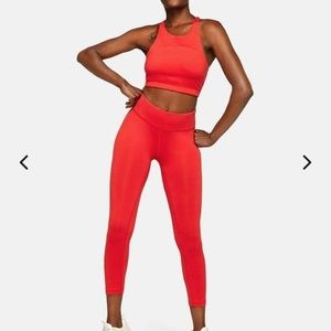 New Outdoor Voices Scarlet Red Crop & Leggings Set